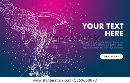Abstract future realistics robot objects. Innovations blend systems and technologies in big data. development  technology automatically process. black and full color future style.