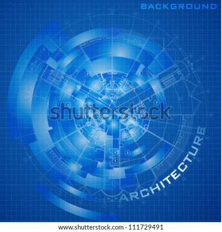 Abstract futuristic architectural design. Urban Blueprint (vector). Architectural background. Part of architectural project, architectural plan, technical project, construction plan