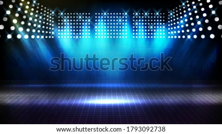 abstract futuristic background of blue empty stage arena stadium spotlgiht stage background Stock fotó ©