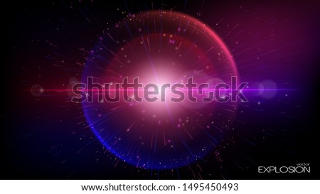 Abstract futuristic background. Vector. A supernova explosion in outer space. Dark, dark blue and violet tones. The space of the universe. Nebula and plasma. Infinity. Place for text.