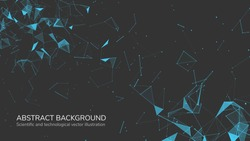 Abstract futuristic background with dots and lines. Vector illustration. Scientific and technological concept, molecular particles and atoms. Big data digital. Polygonal structure.