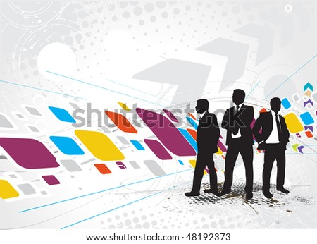Abstract futuristic background with standing businessman silhouette, Vector illustration. - stock vector