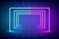 Abstract futuristic blue and pink neon light background, Reflective empty room with neon tube. vector illustration