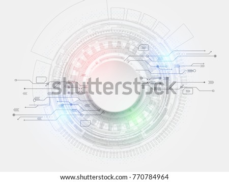 Abstract futuristic circuit board, hi-tech computer digital technology concept, Blank white paper circle design and light colorful on gray background, Vector illustration.
