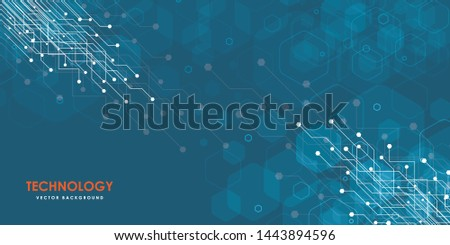 Abstract futuristic circuit board, Illustration high computer technology blue color background. Hi-tech digital technology concept