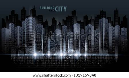Abstract Futuristic City vector, Digital Cityscape background. transparent city landscape, Dots Building in the night City, sci-fi, skyline Perspective, Architecture vector