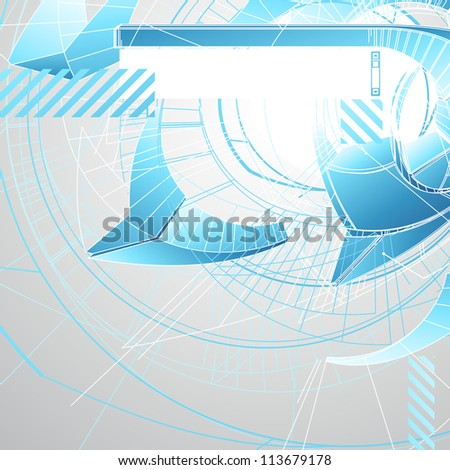 Abstract futuristic 3d high tech design with stylized copy space. Vector illustration.