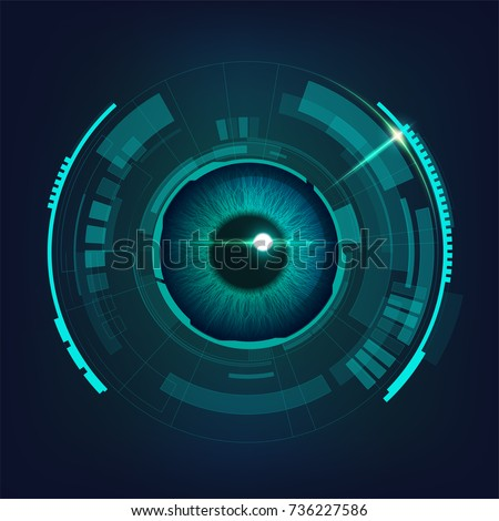 abstract futuristic digital technology eye in dark blue-green tone, concept of cyber security or biometric