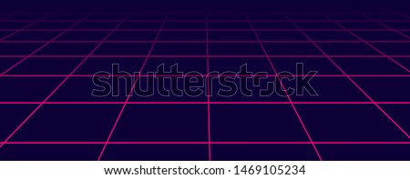 Abstract futuristic grid 1980s style. Vector illustration 80s party background . 80s Retro Sci-Fi background.