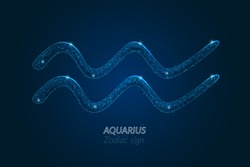 Abstract futuristic image of aquarius zodiac sign. Astrological horoscope characteristic. Polygonal vector illustration looks like stars in the blask night sky in spase. Digital low poly design.