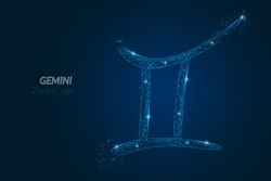 Abstract futuristic image of gemini zodiac sign. Astrological horoscope characteristic. Polygonal vector illustration looks like stars in the blask night sky in spase. Digital low poly design
