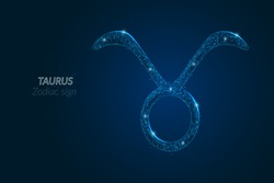 Abstract futuristic image of Taurus zodiac sign. Astrological horoscope characteristic. Polygonal vector illustration looks like stars in the blask night sky in spase. Digital low poly design