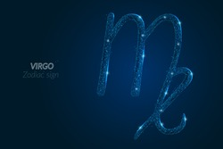 Abstract futuristic image of virgo zodiac sign. Astrological horoscope characteristic. Polygonal vector illustration looks like stars in the blask night sky in spase. Digital low poly design