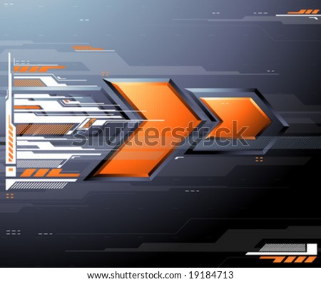 Abstract futuristic metallic background with two orange arrows. Vector illustration.