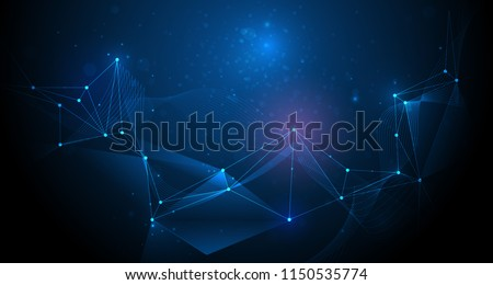 Abstract futuristic, Molecule technology with polygonal pattern with mesh lines and bokeh on dark blue background. Vector molecular and dna structure design. Illustration technology, science concept