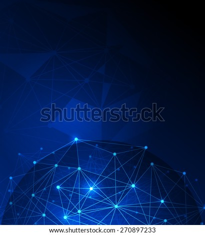 Abstract futuristic .Molecules and polygon digital technology blue background. Illustration Vector design digital technology concept.Blank space for your design or text
