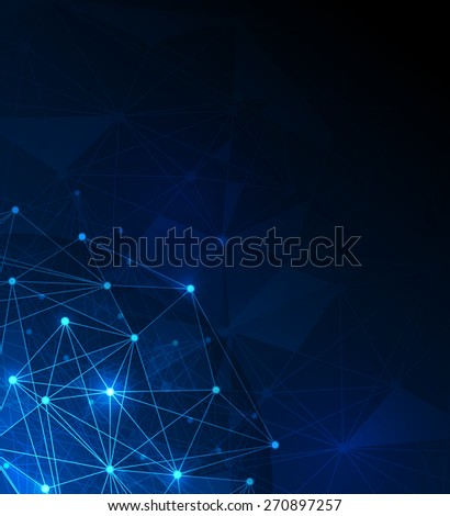 Abstract futuristic - Molecules and polygon digital technology blue background. Illustration Vector design digital technology concept.Blank space for your design or text
