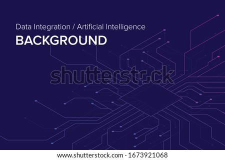 Abstract futuristic - Molecules technology with polygonal shapes on dark blue background. Illustration design digital technology concept. Data Integration, AI Background. Vector illustration