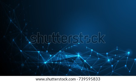 Stock Photo Abstract futuristic - Molecules technology with polygonal shapes on dark blue background. Illustration Vector design digital technology concept.