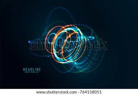 Abstract futuristic object . HUD elemet . 3D hologram display consist of glowing particles and blurred circles . Nanotechnology machine . Vector science and technology illustration .