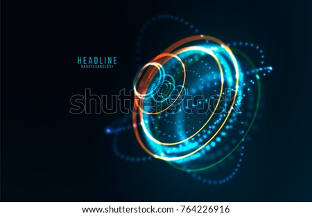 Abstract futuristic object . HUD elemet . 3D hologram display consist of glowing particles and blurred cirles . Nanotechnology machine . Vector science and technology illustration .