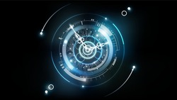 Abstract Futuristic Technology Background with Clock concept and Time Machine, Can rotate clock hands, vector illustration