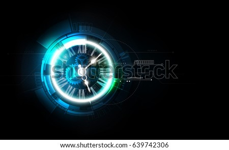 Abstract Futuristic Technology Background with Clock concept and Time Machine, vector transparent