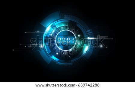 Stock Photo Abstract Futuristic Technology Background with Digital number timer concept and countdown, vector transparent