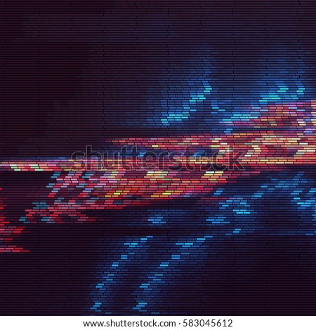 Abstract futuristic texture of colorful stripes . Glitch effect on TV screen .  Digital signal error , Vector illustration .