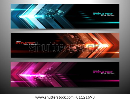 abstract futuristic website banner set vector illustration