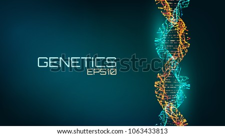 Abstract fututristic dna helix structure. Genetics biology science background. Future medical technology.