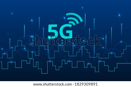 Abstract 5G icon with dot point connect line design, communication network concept. High speed, broadband telecommunication. vector design. Stock fotó ©