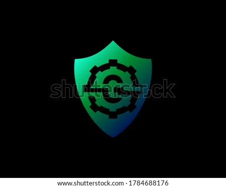 Abstract G Letter Logo With Gear Shape and Modern Shield Design. Security G Icon Design Template.