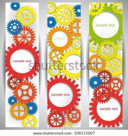 Abstract Gear Web Banners. Eps10 .Image contain transparency and various blending modes - stock vector