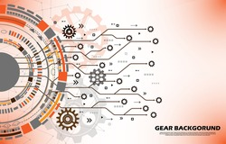 Abstract gear wheel pattern on orange technology background EP.16.Used to decorate on message boards, advertising boards, publications and other works