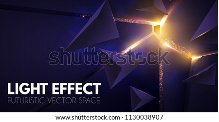 Abstract Geometric Background. Explosion Power Design with Crushing Surface, 3D Triangles and Golden Light. Vector illustration