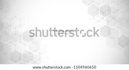 Abstract geometric background. Hexagons design for medical, science and digital technology. Molecular structure and molecule dna
