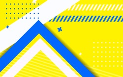 Abstract geometric background hipster style design concept. Minimal modern and trendy shape with strip blue yellow composition for use element poster, banner, business, corporate, web, wallpaper