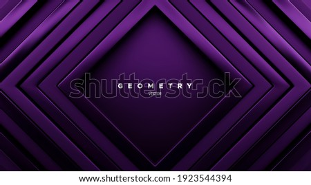 Abstract geometric background. Luxury dark purple square frames. Vector 3d illustration. Concentric rectangle shapes. Elegant cover design