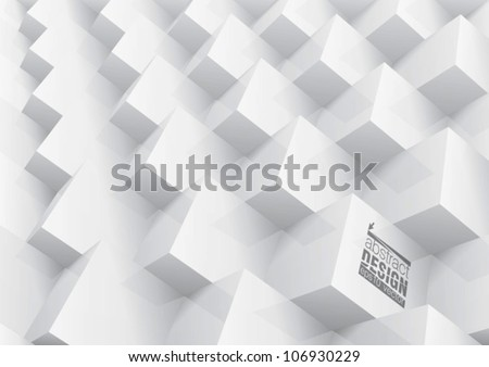Abstract geometric background stacked white cube, you can change colors