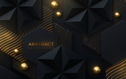 Abstract geometric background. Vector 3d illustration. Hex and pyramid black shapes. Polygonal tiles with golden wavy pattern, spheres and glitters. Minimal cover design. Futuristic design element.