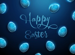Abstract geometric background with blue low poly Easter eggs. Happy Easter card. Polygonal style design. Wireframe light connection structure. Modern 3d graphic concept. Isolated vector illustration.