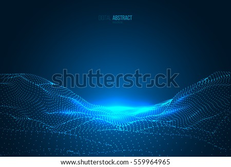 Abstract geometric background with digital landscape or waves. Vector futuristic illustration.