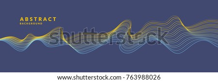Abstract geometric background with dynamic particles and waves. Vector illustration template for design.