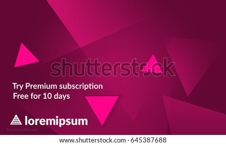 Abstract geometric background with pink gradient vanishing triangles. Modern template for social media banner. Contemporary material design with realistic shadow over flat gradient background.