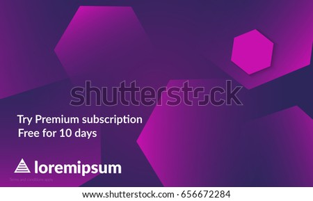 Abstract geometric background with purple gradient vanishing hexagons. Modern template for social media banner. Contemporary material design with realistic shadow over flat gradient background.