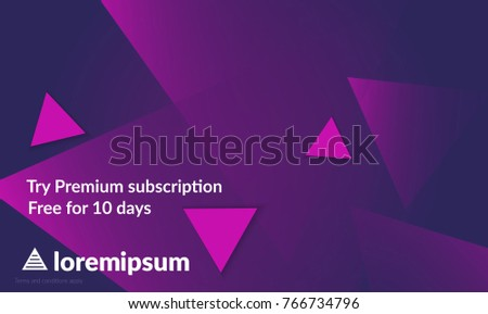 Abstract geometric background with purple gradient vanishing triangles. Modern template for social media banner. Contemporary material design with realistic shadow over flat gradient background.
