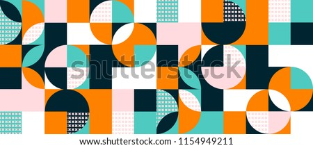 Abstract geometric background with squares,triangles, rounds and crosses in a 3D effect. Colorful modern pattern in orange, blue, pink, navy and white contrast colors.