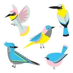 Abstract geometric birds