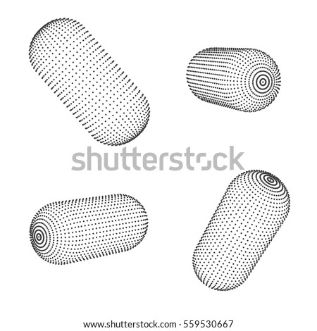 Abstract geometric capsule. 3D polygonal wireframe with connected lines and dots.